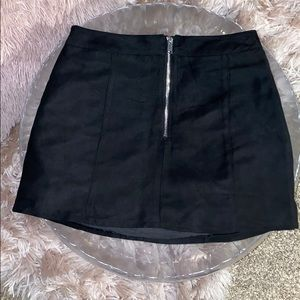 black velvet zip up skirt